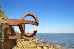 The Comb of the Wind. San Sebastian, Spain - May 18, 2014: The Comb of the Wind is a collection of sculptures by Eduardo Chillida. Consists of three sculptures Stock Photo