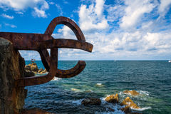 Comb of the Wind Sculpture. Sculpture (Comb Of The Wind by Chillida) in San Sebastian, Basque Country, Spain Royalty Free Stock Photos