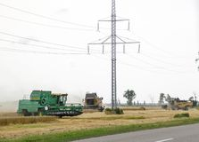 Combain si raccoglie sul raccolto del grano Macchinario agricolo nel campo Fotografie Stock