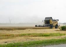 Combain si raccoglie sul raccolto del grano Macchinario agricolo nel campo Fotografie Stock Libere da Diritti