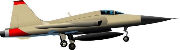Free Combat Aircraft. Colored Vector Illus Royalty Free Stock Photography - 194546037