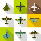 Combat aircraft icons set, flat style Royalty Free Stock Photo
