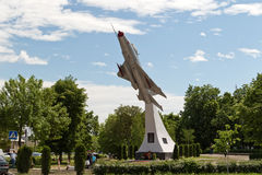 Combat aircraft MIG-21 Monument to military pilots Royalty Free Stock Photos