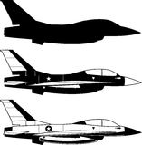 Combat airplane icons. Combat Airplane Military fighter aircraft  illustration Royalty Free Stock Photo