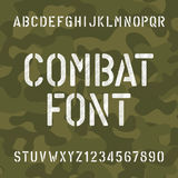 Combat alphabet font. Scratched type letters and numbers. Stock Photos