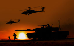 Combat Attack Abrams tank. Against the setting sun royalty free illustration