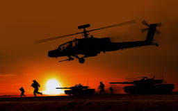 Combat Attack Apache helicopter. Against the setting sun royalty free illustration