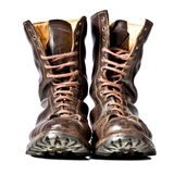 Combat boots. Used combat leather boots Royalty Free Stock Photography