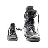 Combat boots for adult and kid Stock Photos