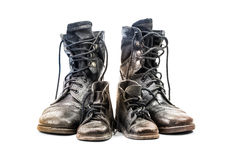 Combat boots for adult and kid Royalty Free Stock Images
