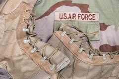 Combat boots and Air Force uniform Stock Photos