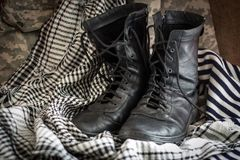 Combat boots. The uniform of a modern soldier Stock Image
