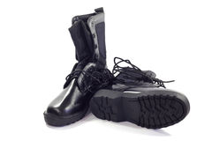 Combat boots. Soldier on a white background Royalty Free Stock Photos