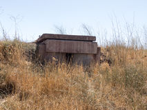 Combat bunkers left from the time of the War of the Doomsday Yom Kippur War on the Golan Heights, near the border with Syria, Is Royalty Free Stock Photos