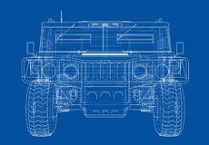 Combat car. Vector rendering of 3d Stock Photography