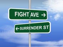 Combat contre le panneau routier de reddition illustration libre de droits