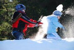 Combat de boule de neige Photos libres de droits