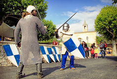 Combat de chevaliers Image libre de droits