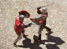 Combat de deux chevaliers Photos libres de droits