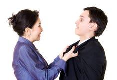 Combat de femme avec l'homme photographie stock