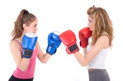Combat de filles de Kickboxing Photos libres de droits
