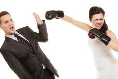 Combat de ménages mariés Images libres de droits