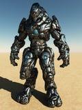 Combat Droid in Desert Landscape. Futuristic science fiction battle droid in a desert landscape, 3d digitally rendered illustration Stock Photo