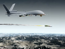 Combat Drone. Drone aircraft launching an air to ground missile vector illustration