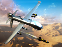 Combat  drone. Combat unmanned aerial vehicle launches raked in mountainous terrain Royalty Free Stock Image