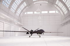 Combat drone in white hangar Royalty Free Stock Photo