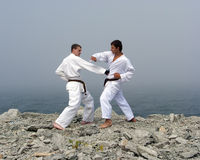 Combat du karateka deux Photo libre de droits