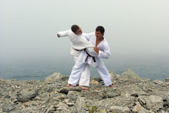 Combat du karateka deux Image stock