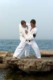 Combat du karateka deux Image libre de droits