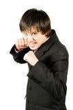 combat fâché d'homme d'affaires prêt à Photo stock