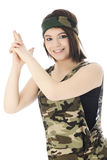 Combat Girl with Hand-Formed Gun Royalty Free Stock Image