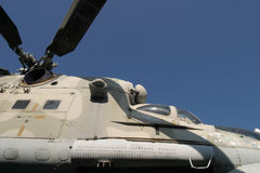 Combat helicopter. Side view of a russian combat helicopter in an outdoor museum stock photography