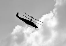 Combat helicopter in flight Royalty Free Stock Images