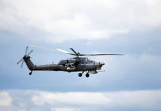 Combat helicopter in flight Stock Image