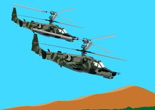 Combat helicopters link Royalty Free Stock Photos