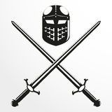 Combat helmet and two swords. Vector illustration. Royalty Free Stock Photography