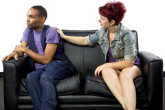 Combat Inter-racial de couples Photographie stock libre de droits