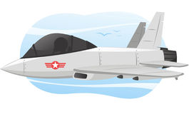 Combat jet airplane cartoon illustration. Vector Illustration Cartoon illustration of a combat airplane with Pilot, with star shape logo Stock Photo