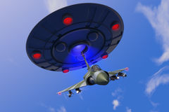 A combat jet hits an ufo Royalty Free Stock Image