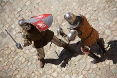 Combat médiéval de chevaliers Photo libre de droits