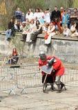 Combat médiéval de chevaliers Photo stock