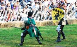 Combat médiéval de guerrier Photos libres de droits