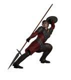 Combat médiéval ou d'imagination d'homme armé d'une lance Photos stock