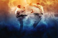 Combat masculin du karaté deux images libres de droits