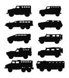 Combat military cars silhouettes set. Royalty Free Stock Image