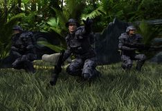 Combat Patrol In Green Hell. Colonial Marine Rangers on combat patrol in the jungles of Rigel 5 vector illustration